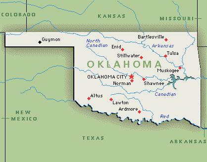 Landkarte von Oklahoma, USA